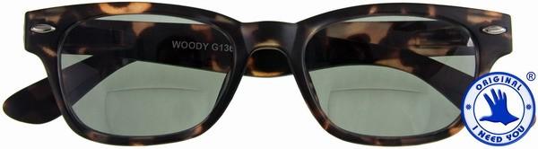 Woody Sun-Bi braun mit G15 Retro-Bifokal-Sonnenbrille +01.00 0akcc